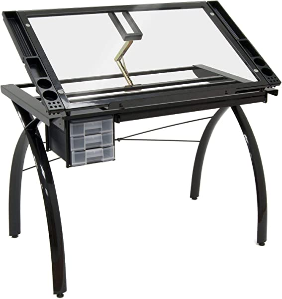 43 25 Inch Drawing Desk Station Tempered Glass Top Adjustable Drafting Table Side Supplies Trays Black With Ebook