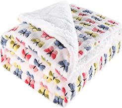 Sherpa Fleece Throw Blanket Plush Jacquard Butterfly Pattern Soft Thick Blanket for Couch Sofa Bed 127 * 152CM,White