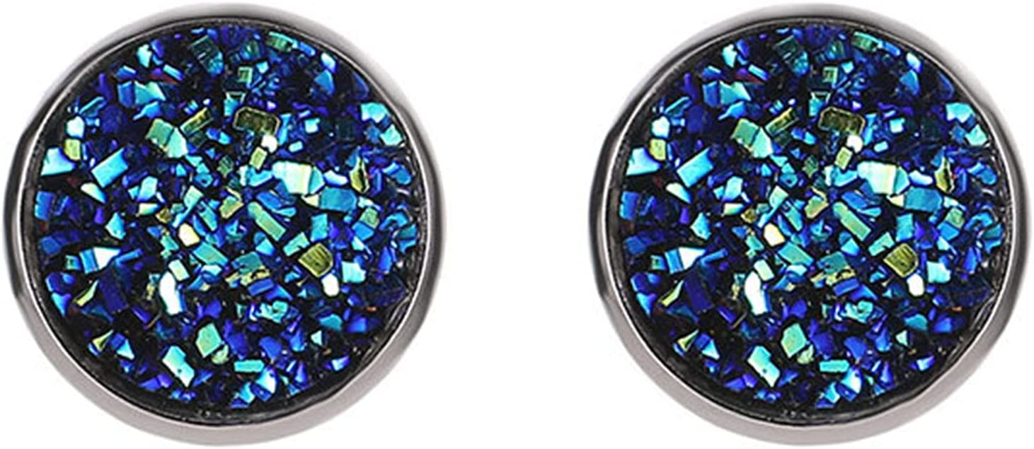 HEART SPEAKER 1 Pair Ear Studs Decorative Colorful Round Shaped Rhinestone Stud Earrings for Birthday Gift Deep Lake Blue