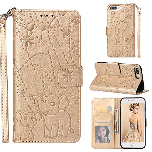 iPhone 8 Plus/iPhone 7 Plus/iPhone 6S Plus/iPhone 6 Plus Case,Yoomer Firework Elephant Premium PU Leather Card Holders & Hand Strap Wallet Purse Case for iPhone 8 Plus/7 Plus/6S Plus/6 Plus 5.5""