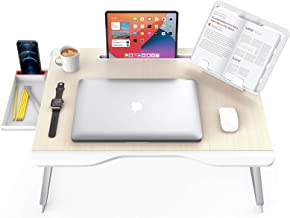 SAIJI Foldable Laptop Desk Table, X-Large Latop Bed Table for Working/Writing/Gaming/Drawing/Eating, with Handrest Booksta...