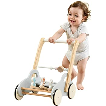 labebe Push Walker,Gray Animal-Push Toy for Toddler, Pull Wagon for Kid, 2-in-1 Activity Push Walker for Infant/Child, sit to Stand Learning Walker, Wooden Play Wagon 4 Wheel, Doll Push