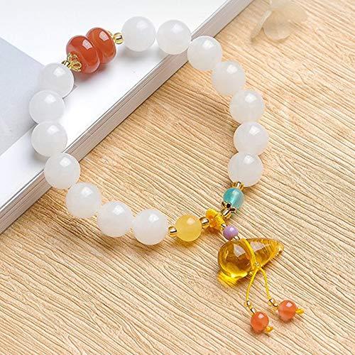 WCOCOW Explosive Feng Shui Hetian White Jade Bracelet Amber Beeswax Hu Lu/Wu Lou Pendant Agate Bangle Strong Talisman Amulet Attract Money Luck