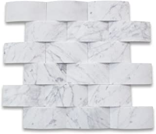 Carrara White Italian Carrera Marble 3D Cambered Curved Arched Mosaic Tile 2x4 Subway Honed