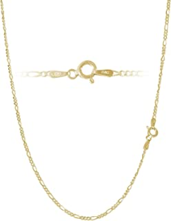 Figaro Chain Link in Gold Plated Sterling Silver, Rose Gold Plated Sterling Silver & Sterling Silver 2mm Italian 7-42 Inch Bracelets and Necklaces