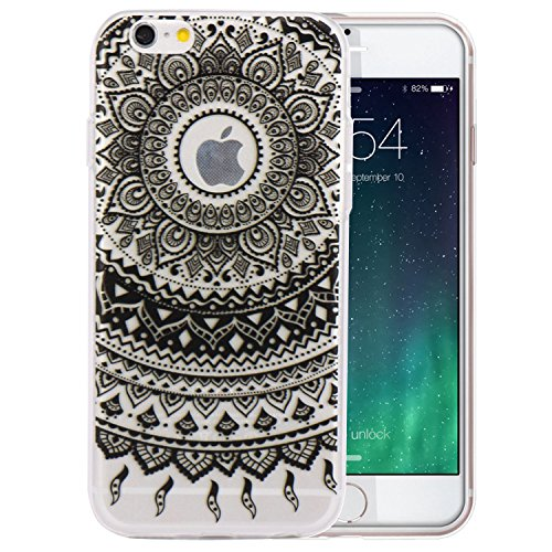 JIAXIUFEN TPU Gel Silicone Protettivo Skin Custodia Protettiva Shell Case Cover Per Apple iPhone 6 6S - Black Tribal Mandala