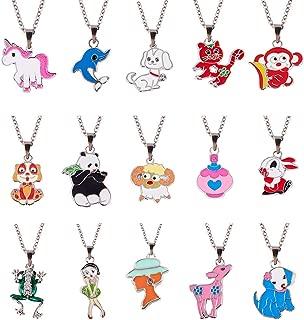 SUNNYCLUE 1 Box DIY Enamel Animal Charm Pendant Necklace Making Kit 15pcs Unicorn Dog Panda Horse Cat Elephant Monkey Sheep Charm Beads, 15pcs Bails and 2pcs 18
