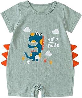 UULIKE--Baby Body pour bébé avec imprimé dinosaure - Hello Dude So Cute - Unisexe (garçons, filles) - Vert, beige, bleu - ...