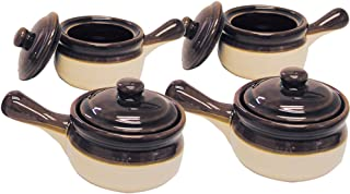 (Set) 4 Traditional Lidded French Onion Soup Brown Ceramic Handled Crocks