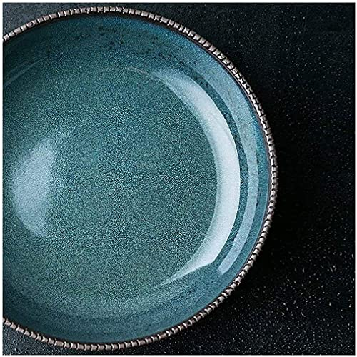 QZH Ensaladera Grande Filete Pasta Desayuno Plato Hondo Ensalada de Frutas Sopa Ramen Fideos Tazón para Mezclar Vajilla de cerámica Creativa Apto para microondas