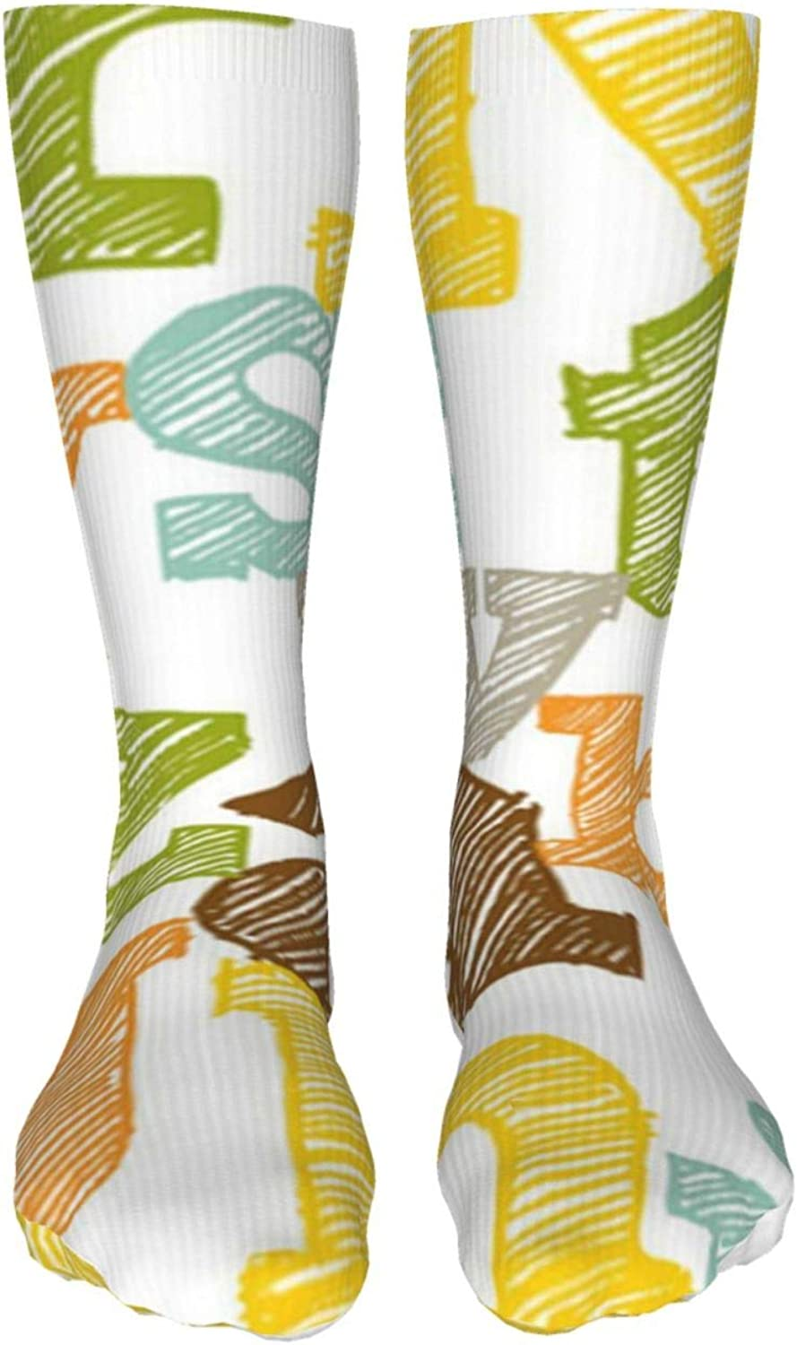 Colorful Sketched Alphabet Women Premium High Socks, Stocking High Leg Warmer Sockings Crew Sock For Daily And Work