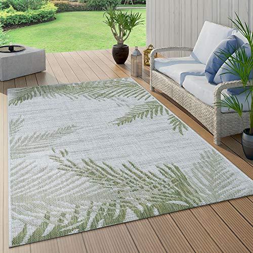 Paco Home In- & Outdoorteppich Beige Grün Palmen Design Balkon Terrasse Robust Wetterfest, Grösse:120x160 cm