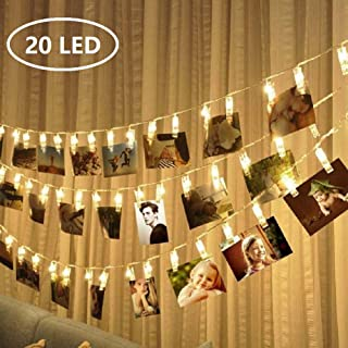MEKEET Photo Clips String Lights 20 LED Card Holders Gifts for Teen Girls to Hanging Pictures, Polaroids, Indoor LED Fairy String Lights for Halloween Christmas Wedding Party Bedroom Decor