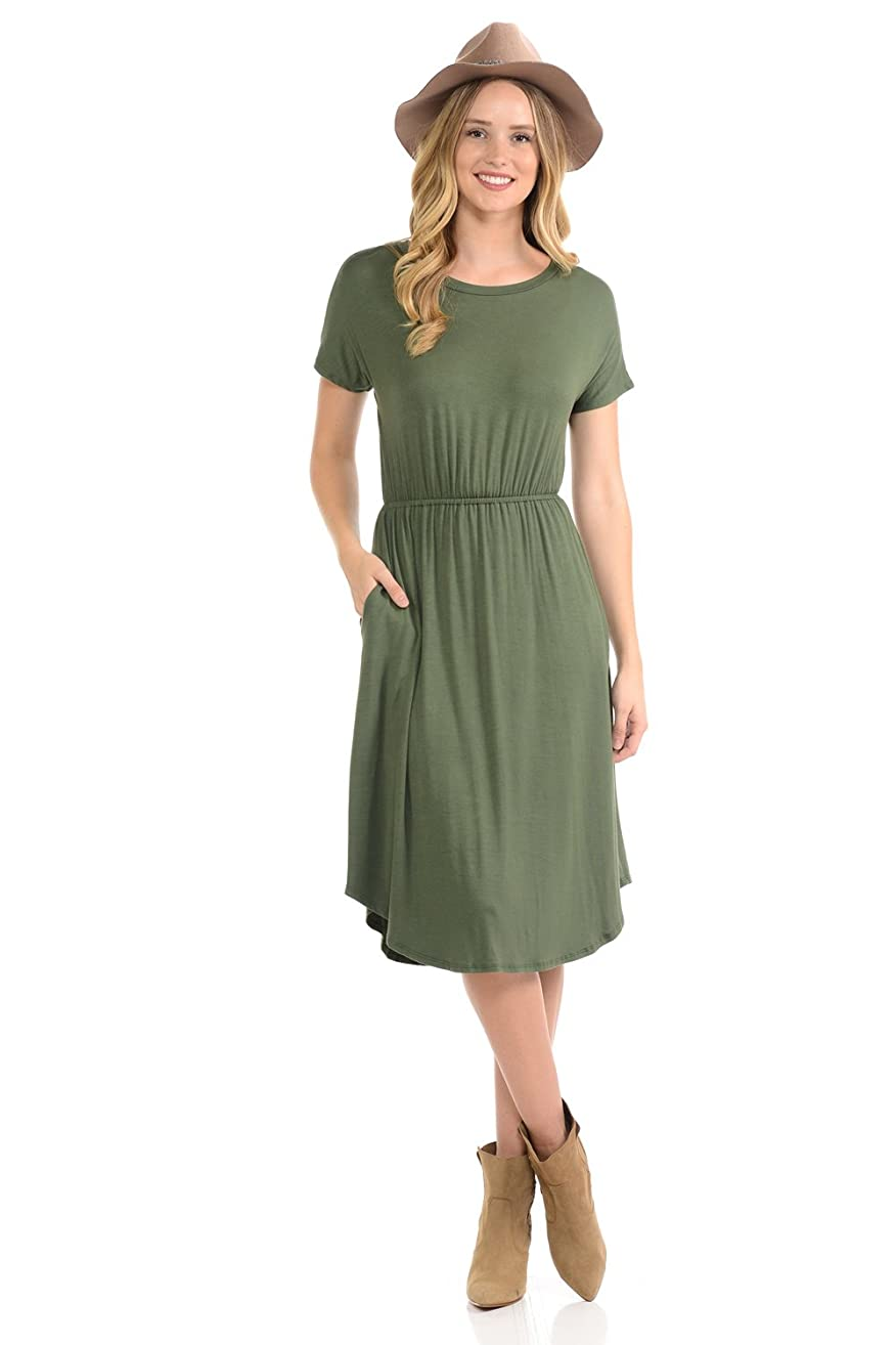 iconic luxe Women's Short Sleeve Flare Midi Dress with Pockets in Solid and Floral - Made in USA