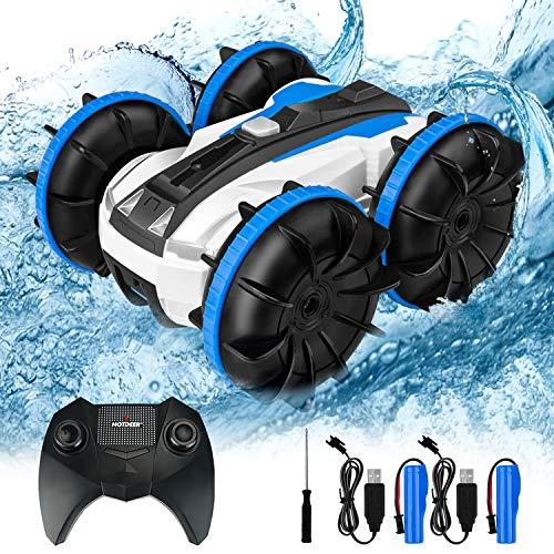 OMEW Coche Teledirigido Anfibio Coche de Control Remoto, Coches controlados Stunt Car Impermeable Anfibios en Agua y Tierra ,Coche radiocontrol Electric Juguetes para niños( Azul)