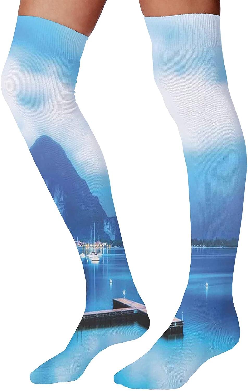 Men's and Women's Fun Socks,Italian Culture Inspired Floral Elements Western Civilization Ornamental Pattern