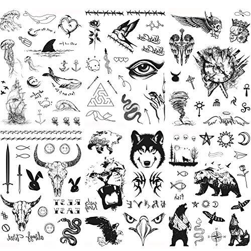 Konsait 6 Feuilles Noir Autocollants Tatouage Temporaire Pour Adultes homme Femme Dragon Loup Lion Tigre maori Aigle tatouage éphémère homme faux corps bras poitrine épaule tatouages