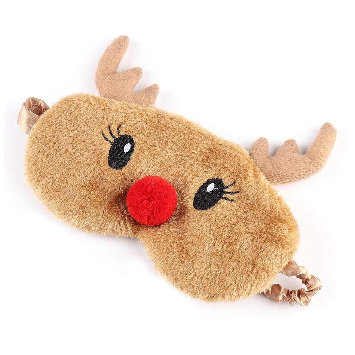 横向き干し草花弁NOTE かわいいクリスマスプレゼント鹿アイカバーぬいぐるみ布ナチュラルスリーピングソフトアイマスクアイパッチ冬漫画昼寝アイシェード