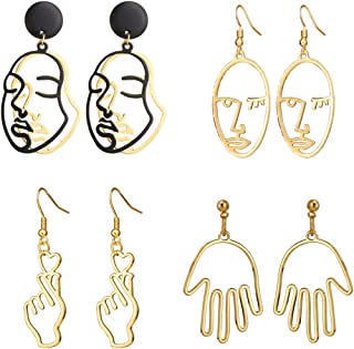 Top Plaza Face Abstract Gold Fun Statement Dangle Drop Earrings Fashion Hollow Face Hand Shape Hoops Stud Earrings for Women Teens Girls