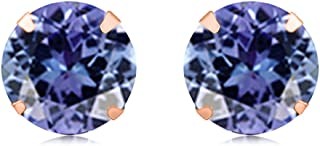 Round Cut Simulated Tanzanite Stud Earrings In 14K Solid Gold (3.00 Cttw)