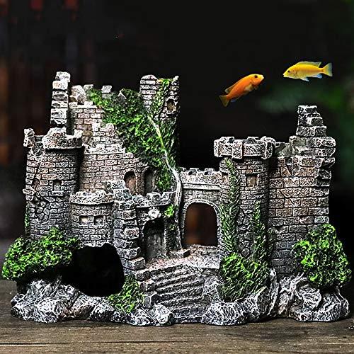 Yuema Aquarium Dekoration Klassische Burgruinen Rundaquarium