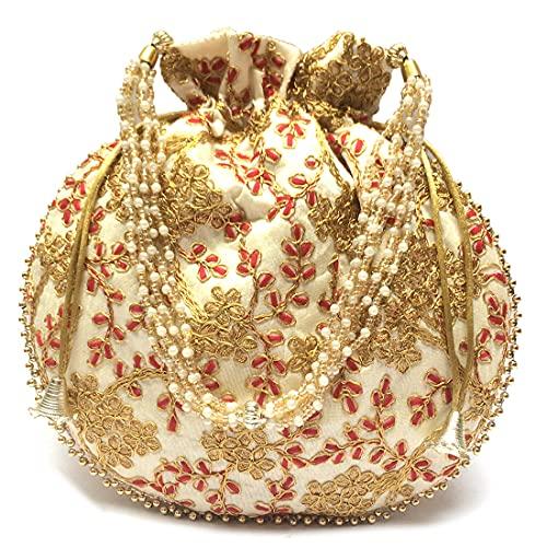 Shubh Shagun Rajasthani Ethnic Women handbag potli Bags (Beige & Gold)