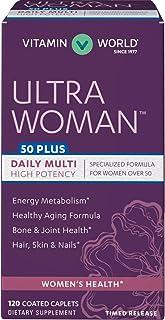 Vitamin World Ultra Woman 50 Plus Daily Multivitamin | Feat. Biotin, Vitamins B, C, D, E, Calcium, Zinc, Selenium, & Beta-...