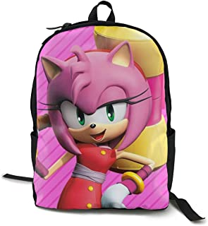 Sonic Boom-Amy Rose Anime Cartoon Cosplay Canvas Shoulder Bag Backpack Cool Lightweight Travel Daypacks School Backpack Laptop Backpack