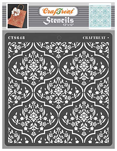 CrafTreat Trellis Stencils for Painting Walls Moroccan - Floral Trellis - 12x12 Inches - Trellis Stencil for Furniture Painting - Background Stencils for Scrapbooking and Card Making