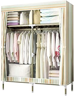 HWG Armoire A Vetement Armoires en Tissue Armoire Penderie Portable avec 2 Tringles à Vêtements, 4 étagères pour Chambre, ...