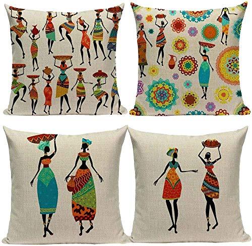 PotteLove Set of 4 Colorful African Women's Life Cotton Linen Decorative Throw Pillow Case Cushion Cover Pillow Case Square Throw Pillow Cover for Living Room Sofa Decor 26x26 inch