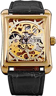 Gold Watch for Men Skeleton Stainless Steel Steampunk Mechanical Square Watch