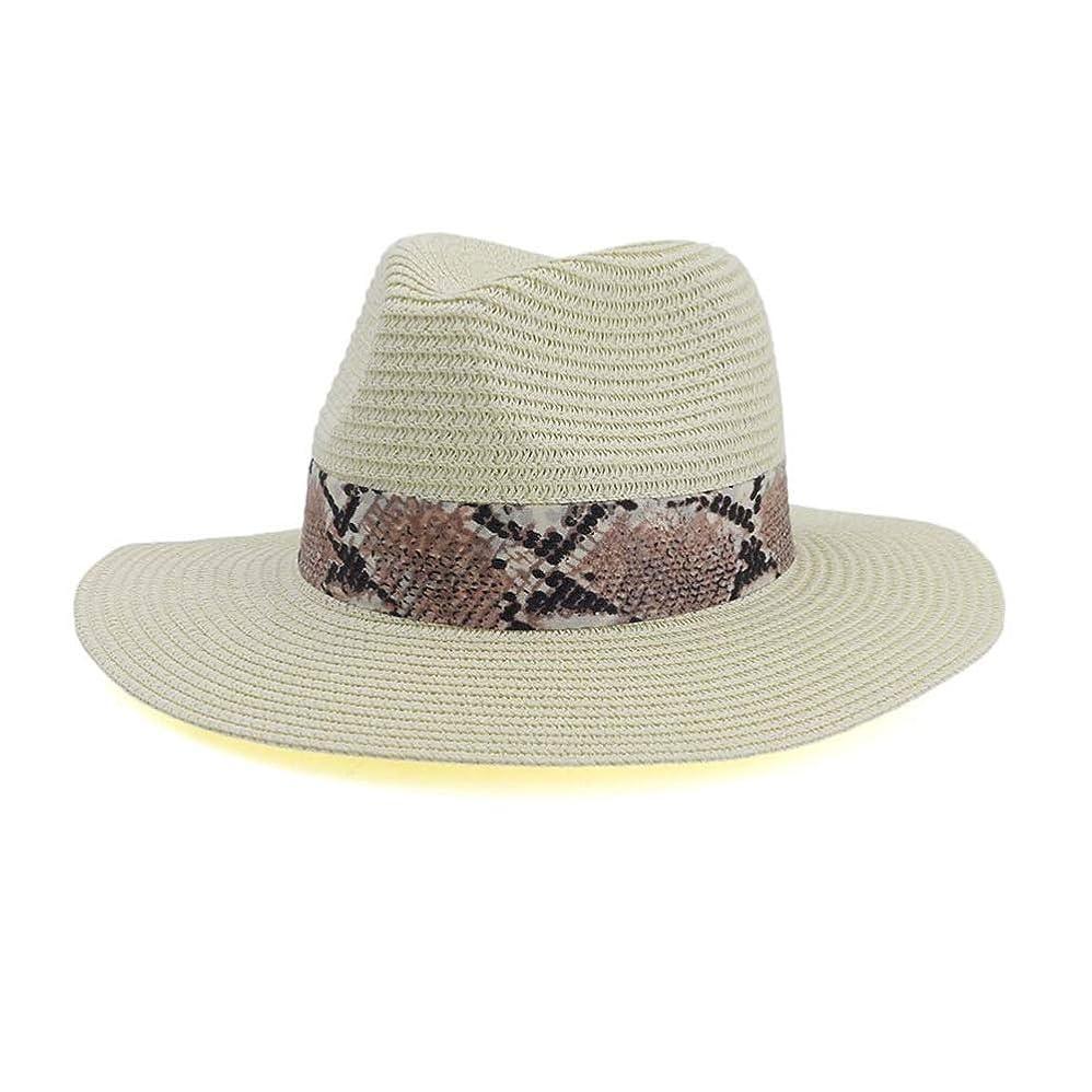 核料理ピカソUSPANDI 夏の男性女性パナマストローキャップFedoraビーチバカンス広いつばバイザーカジュアル日よけ帽子女性Sombrero 帽子 (色 : クリーム, サイズ : 56-58CM)