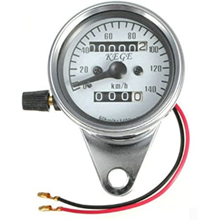 Motorcycle Odometer with Metal Shell and Backlight Function Black Motorcycle Gauge with Indicator LED Light Fits for All Motorcycles of DC 12V Universal Motorcycle Speedometer