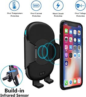 Wireless Car Charger Mount, 10W 7.5W Qi Fast Car Charging, Infrared Sensor Auto Clamping, Air Vent Car Phone Holder Compatible with iPhone Xs Max XR 8 Plus, Samsung S10+ S10e S9 Note 9