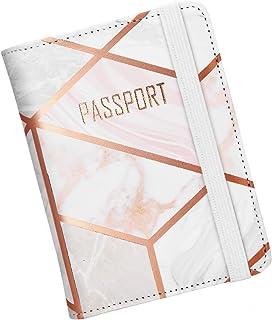 Nacuwa Funda para sostener el pasaporte, funda de cuero con bloqueo de viaje de RFID para hombre y mujeresPorta Pasaporte/Passport Holder/Funda para Pasaporte (Mármol)