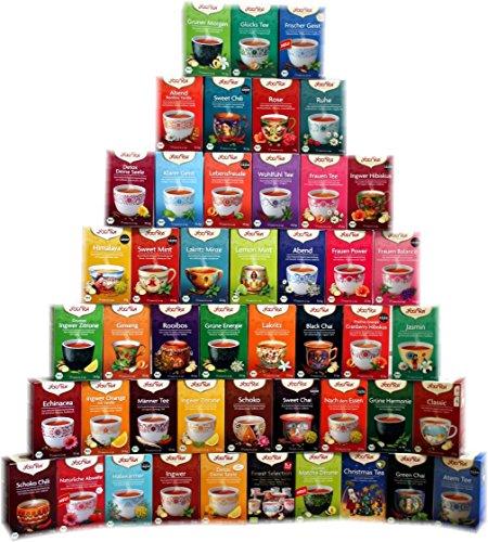 YOGI TEA Komplettset mit 46 leckeren Yogi-Tee-Sorten I jeweils 17 Tee-Beutel pro Sorte I echte Bio-Tee-Qualität I große Tee-Sortiment-Box - für Neugierige & Kenner I Geschenk-Set Tee-Mix 46 Pakete