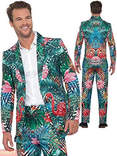 Smiffys Unisex Hawaiian Tropical Suit Hawaiianischer tropischer Flamingo-Anzug, Mehrfarbig, M - Size 38