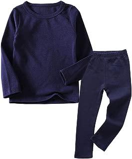 Little Kids Long Johns Thermal Underwear Set 2PC Crewneck Tops and Bottom Toddler Pajamas Warm Jammies,(1-7yrs)