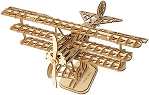 popular Rolife Build Your Own 3D Wooden Assembly Puzzle Wood lowest Craft Kit Bi-Plane Model,Gifts online for Kids and Adults sale