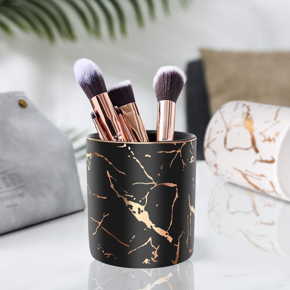 WAVEYU Pen Holder for Desk Cute Floral Makeup Brush Holder Durable Ceramic Flower Design Desk Pencil Organizer Ideal Gift for Office Black Classroom Pencil Cup Holder for Desk