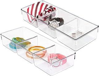 mDesign Organisateur de tiroir et de Placard – Boite de Rangement Pratique avec 3 Sections – idéale pour Bijoux, cosmétiqu...
