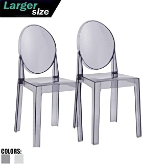 2xhome - Set of Two (2) - Smoke - Large Size - Modern Ghost Side Chair Ghost Chair Clear Victoria Chairs Dining Room Chair - Accent Seat - Lounge No Arms Armless Arm Less Chairs