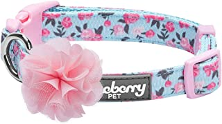 Blueberry Pet 5 Patterns Spring Made Well Cute Floral Print Dog Collar in Light Blue with Detachable Flower Accessory, Sma...