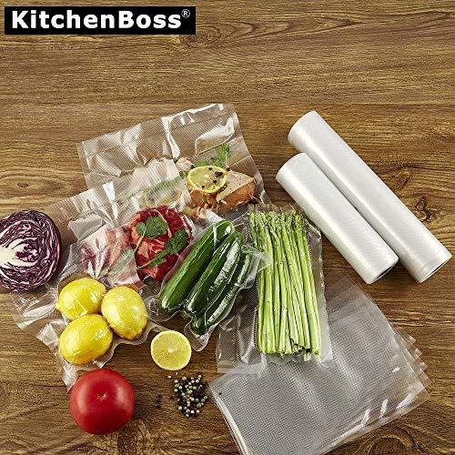 KitchenBoss 真空パック袋 真空ロール 包装袋 100枚 タックカット 真空パック機専用ロール 真空保存容器 専用抗菌 鮮度長持ち 食品保存 低温調理 家庭用 業務用 (28*40cm 100枚)