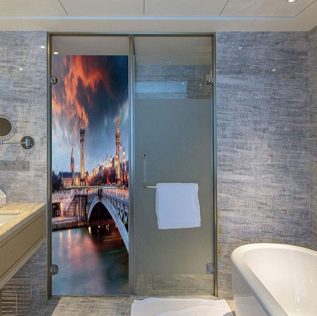 C COABALLA Decorative Privacy Window Film,Paris Decor,for Fome Bedroom Kitchen Office,Alexandre 3 Bridge Paris France Palace Golden Color,24''x78'' mlk5454919