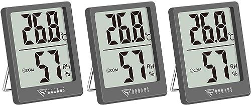 DOQAUS Mini Thermomètre Hygromètre Intérieur 3 Pièces, à Haute Précision Moniteur D'Humidité et Température, Températ...