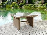 greemotion Tisch New York braun, Esstisch inklusive Glasplatte, Terassentisch für 4 Personen, Gartentisch aus hochwertigem Aluminiumgestell und Poly-Rattan, witterungsbeständig und pflegeleicht - 9