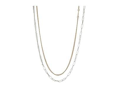 AllSaints Mix Chain Long Station Necklace (Two-Tone) Necklace