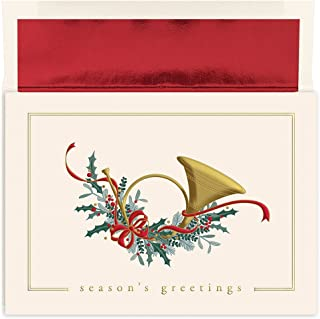 Masterpiece Holiday Collection 16-Count Christmas Cards with Foil Lined Envelopes, French Horn